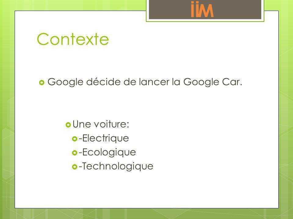Contexte Google décide de lancer la Google Car. Une voiture: -Electrique -Ecologique -Technologique