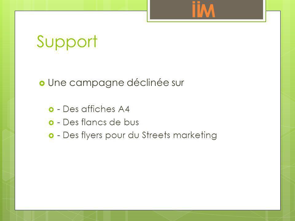 Support Une campagne déclinée sur - Des affiches A4 - Des flancs de bus - Des flyers pour du Streets marketing