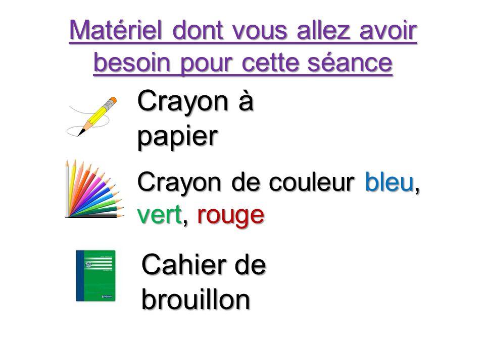 Matériel dont vous allez avoir besoin pour cette séance Crayon à papier Crayon de couleur bleu, vert, rouge Cahier de brouillon