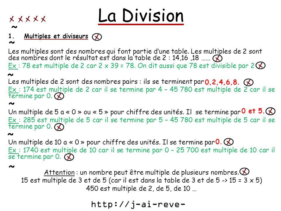 La Division 1.Multiples et diviseurs Les multiples sont des nombres qui font partie dune table. Les multiples de 2 sont des nombres dont le résultat e