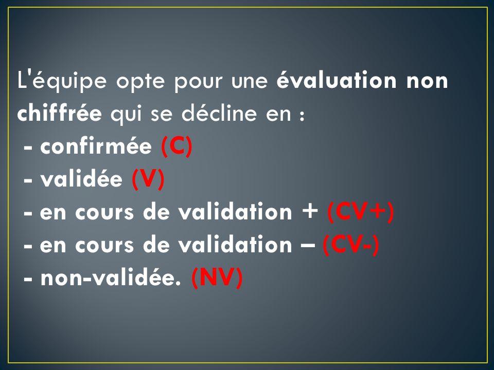 L équipe opte pour une évaluation non chiffrée qui se décline en : - confirmée (C) - validée (V) - en cours de validation + (CV+) - en cours de validation – (CV-) - non-validée.