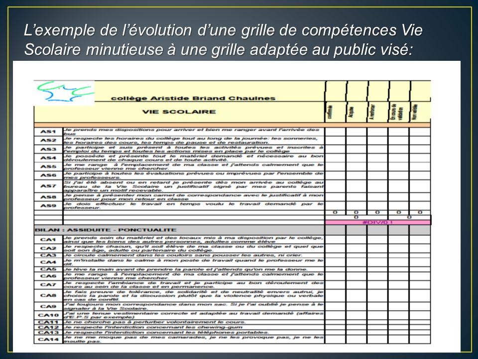 Lexemple de lévolution dune grille de compétences Vie Scolaire minutieuse à une grille adaptée au public visé: