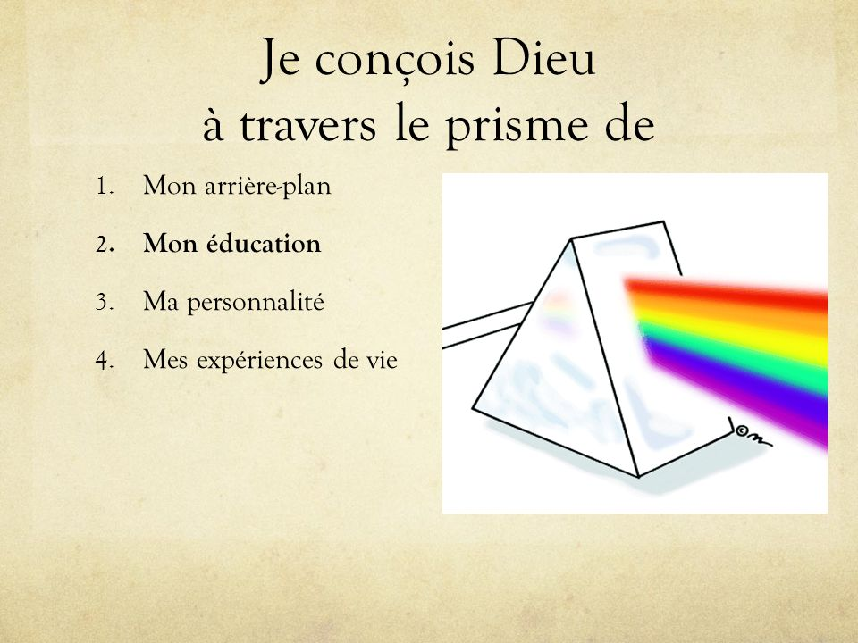 Je conçois Dieu à travers le prisme de 1. Mon arrière-plan 2. Mon éducation 3. Ma personnalité 4. Mes expériences de vie