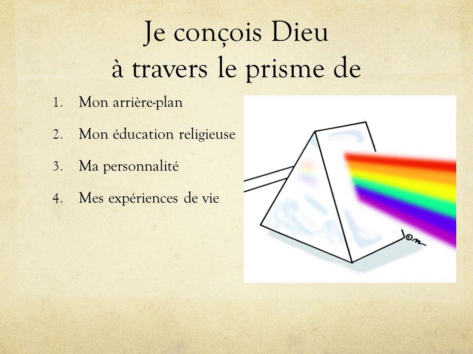 Je conçois Dieu à travers le prisme de 1. Mon arrière-plan 2. Mon éducation religieuse 3. Ma personnalité 4. Mes expériences de vie