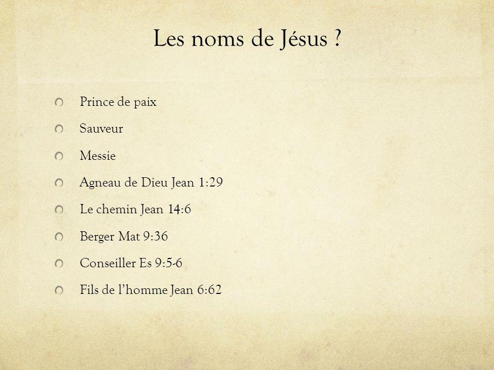 Les noms de Jésus ? Prince de paix Sauveur Messie Agneau de Dieu Jean 1:29 Le chemin Jean 14:6 Berger Mat 9:36 Conseiller Es 9:5-6 Fils de lhomme Jean