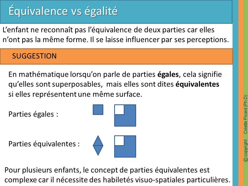 c copyright Colette Picard (Ph.D) SUGGESTION Équivalence vs égalité Lenfant ne reconnaît pas léquivalence de deux parties car elles nont pas la même f