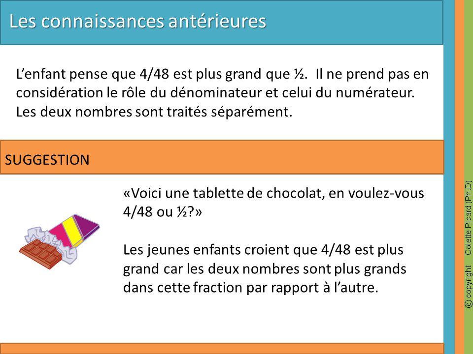 c copyright Colette Picard (Ph.D) «Voici une tablette de chocolat, en voulez-vous 4/48 ou ½?» Les jeunes enfants croient que 4/48 est plus grand car l