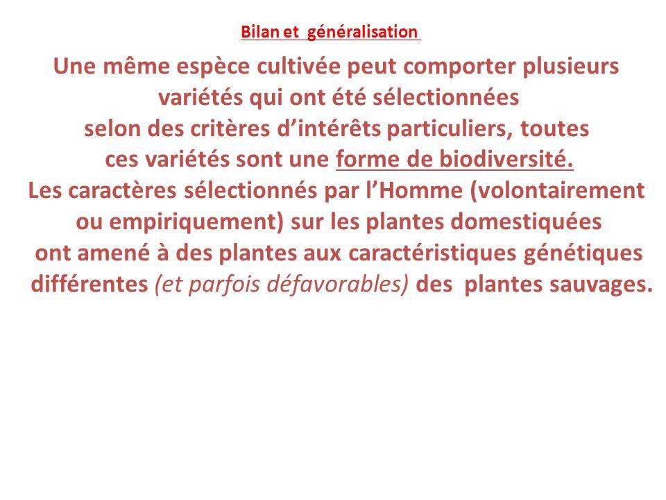 Une même espèce cultivée peut comporter plusieurs variétés qui ont été sélectionnées selon des critères dintérêts particuliers, toutes ces variétés sont une forme de biodiversité.