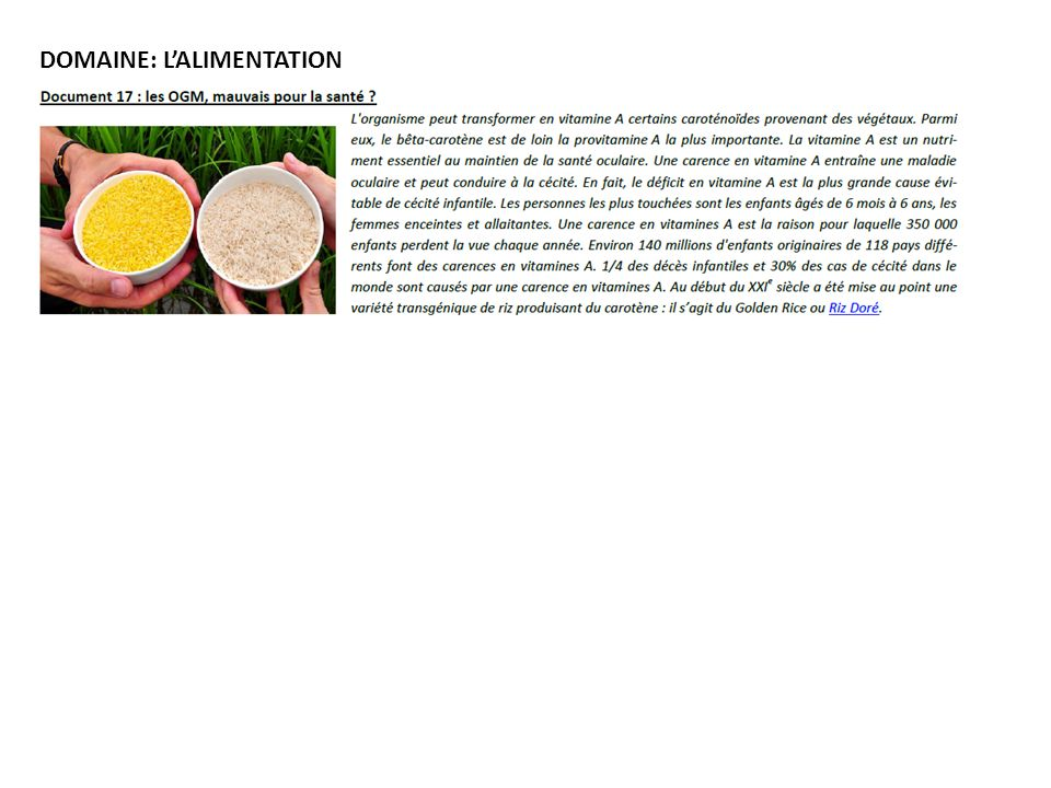 DOMAINE: LALIMENTATION