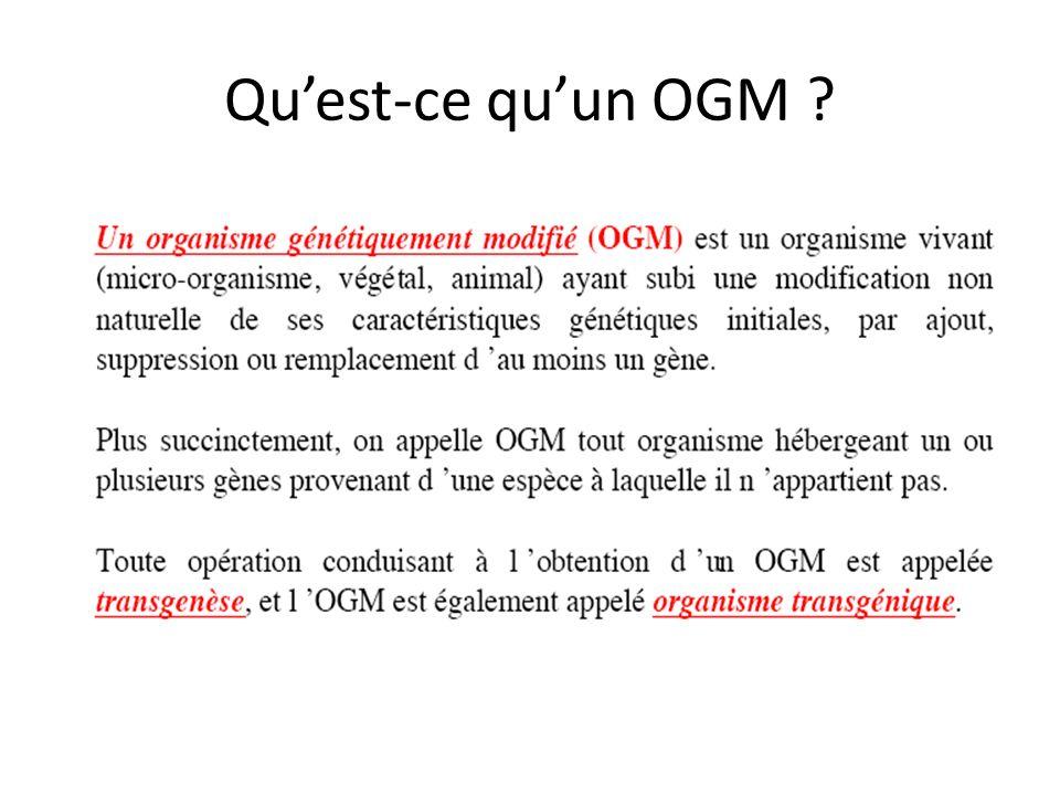 Quest-ce quun OGM ?
