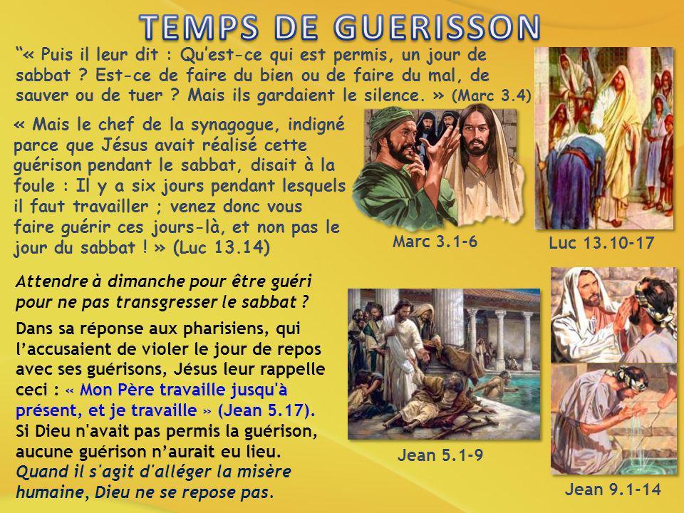 « Puis il leur dit : Quest-ce qui est permis, un jour de sabbat ? Est-ce de faire du bien ou de faire du mal, de sauver ou de tuer ? Mais ils gardaien