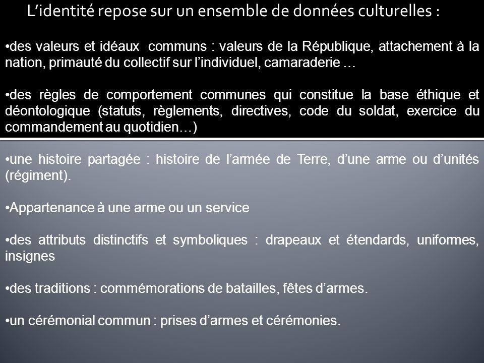 Lidentité repose sur un ensemble de données culturelles : des valeurs et idéaux communs : valeurs de la République, attachement à la nation, primauté