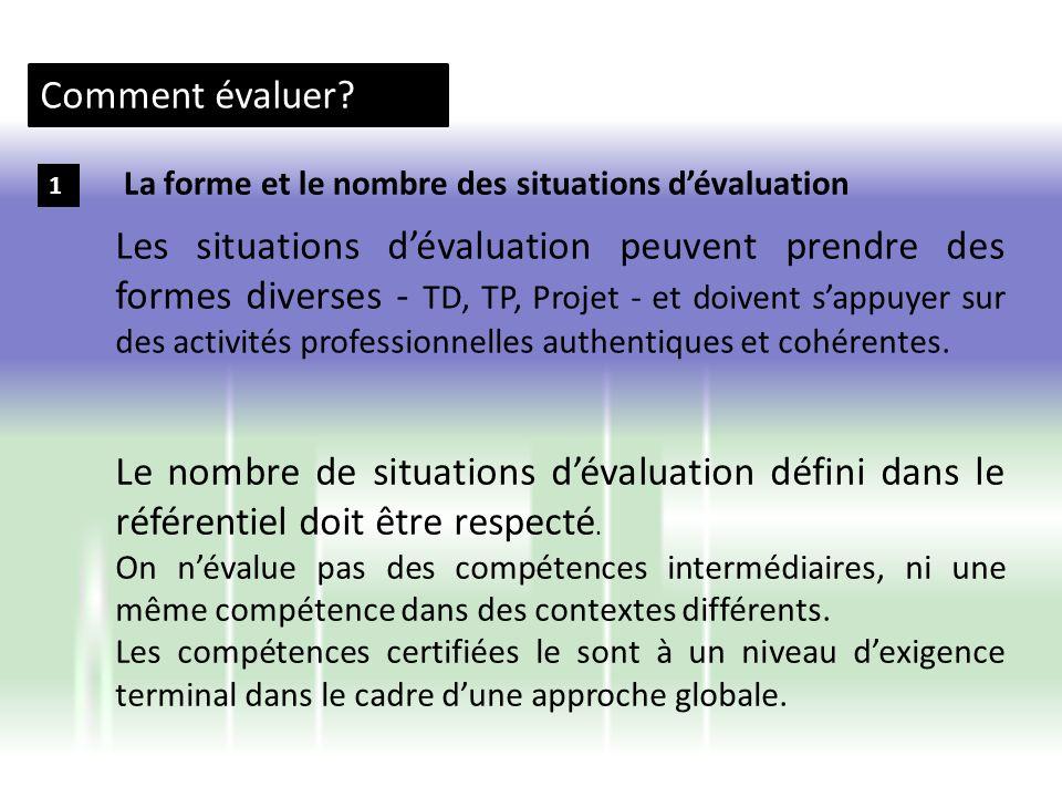 Comment évaluer? 1 Les situations dévaluation peuvent prendre des formes diverses - TD, TP, Projet - et doivent sappuyer sur des activités professionn