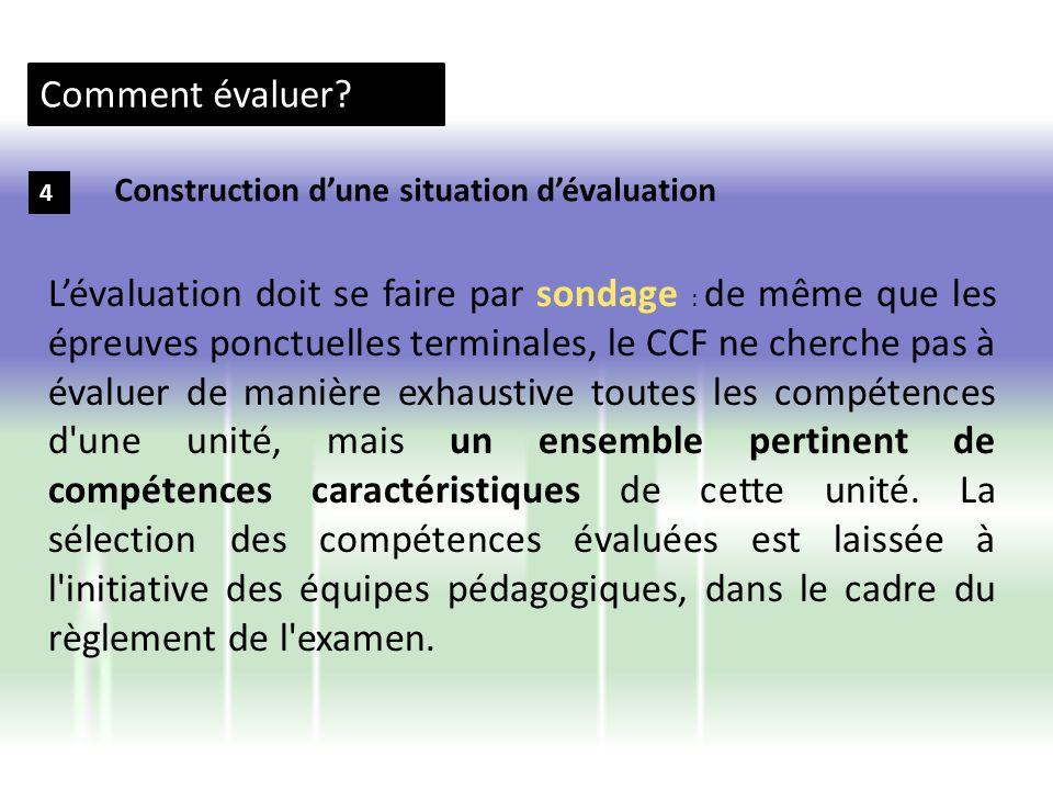 Comment évaluer? 4 Construction dune situation dévaluation Lévaluation doit se faire par sondage : de même que les épreuves ponctuelles terminales, le