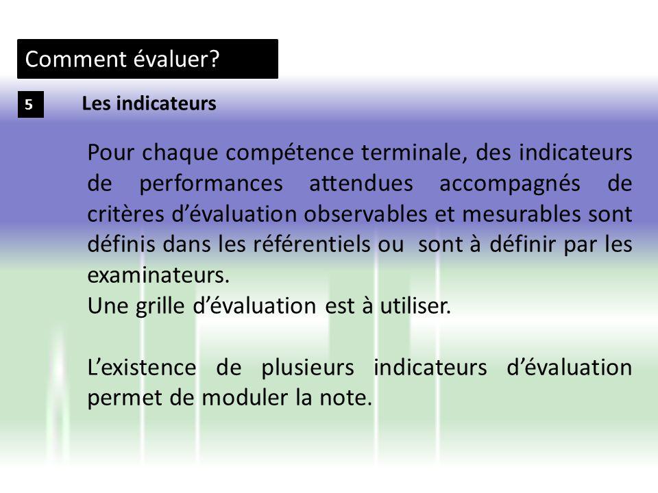 Comment évaluer? 5 Pour chaque compétence terminale, des indicateurs de performances attendues accompagnés de critères dévaluation observables et mesu