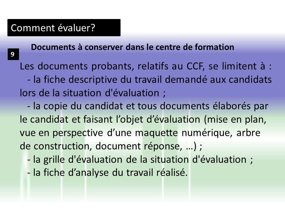 Comment évaluer? 9 Les documents probants, relatifs au CCF, se limitent à : - la fiche descriptive du travail demandé aux candidats lors de la situati