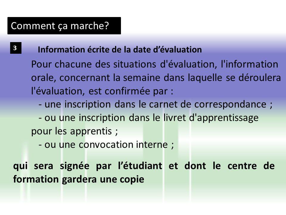 Comment ça marche? 3 Pour chacune des situations d'évaluation, l'information orale, concernant la semaine dans laquelle se déroulera l'évaluation, est