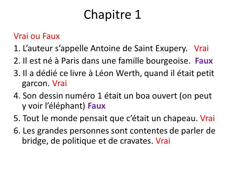 Chapitre 1 Vrai ou Faux 1. Lauteur sappelle Antoine de Saint Exupery. Vrai 2. Il est né à Paris dans une famille bourgeoise. Faux 3. Il a dédié ce liv