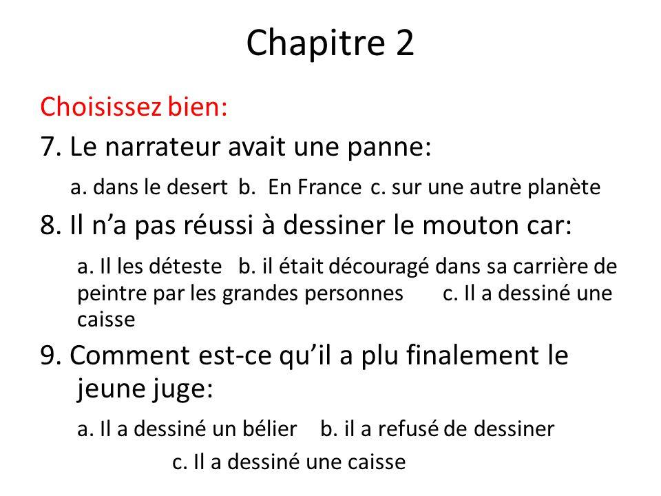Chapitre 2 Choisissez bien: 7. Le narrateur avait une panne: a. dans le desertb. En Francec. sur une autre planète 8. Il na pas réussi à dessiner le m