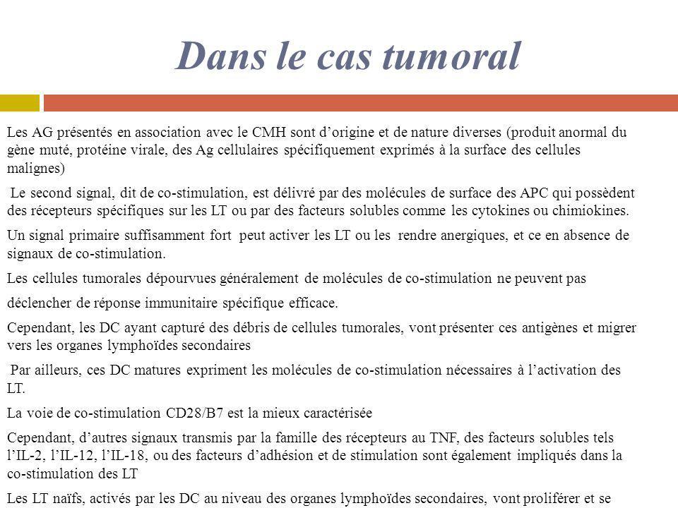 Dans le cas tumoral Les AG présentés en association avec le CMH sont dorigine et de nature diverses (produit anormal du gène muté, protéine virale, de