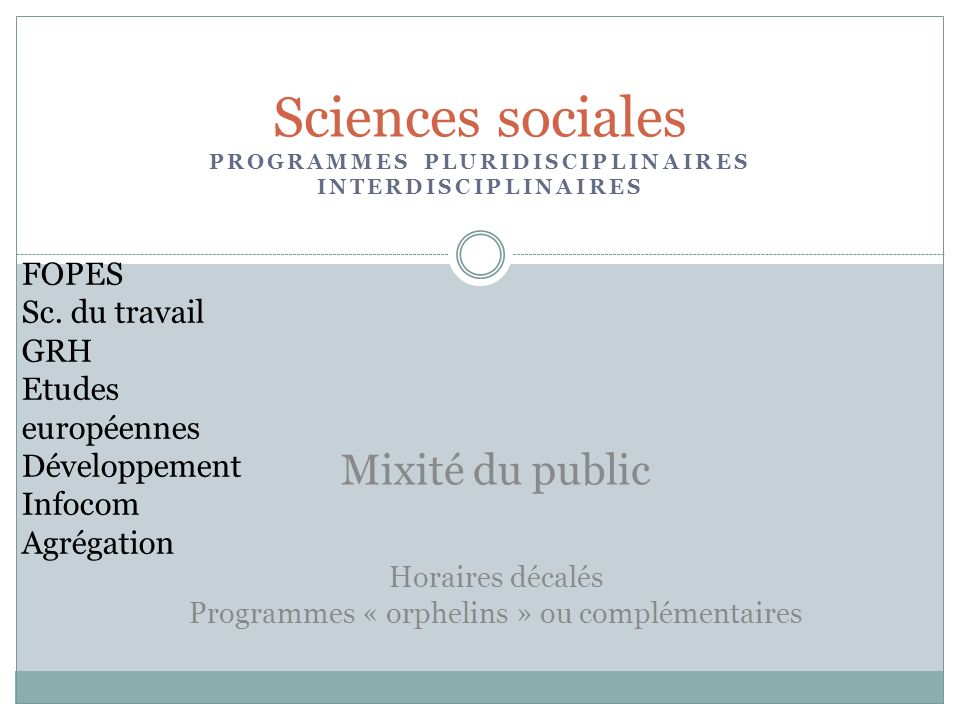 PROGRAMMES PLURIDISCIPLINAIRES INTERDISCIPLINAIRES Sciences sociales Horaires décalés Programmes « orphelins » ou complémentaires Mixité du public FOPES Sc.