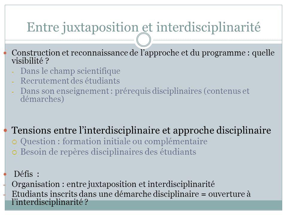 Entre juxtaposition et interdisciplinarité Construction et reconnaissance de lapproche et du programme : quelle visibilité .