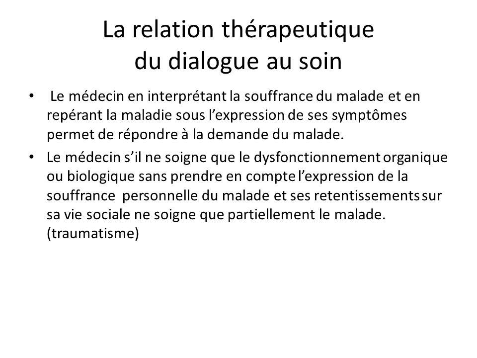 La relation thérapeutique du dialogue au soin Le médecin en interprétant la souffrance du malade et en repérant la maladie sous lexpression de ses symptômes permet de répondre à la demande du malade.