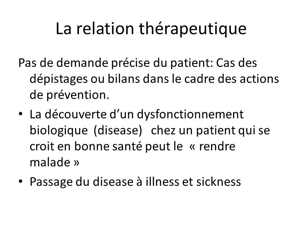 La relation thérapeutique Pas de demande précise du patient: Cas des dépistages ou bilans dans le cadre des actions de prévention.