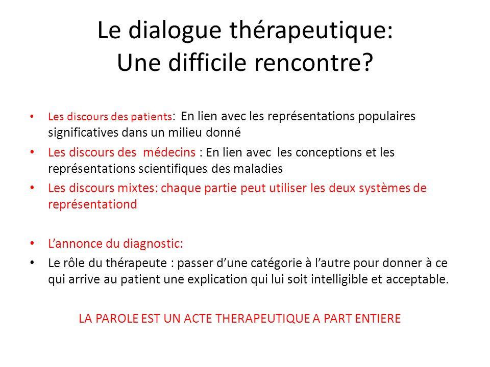Le dialogue thérapeutique: Une difficile rencontre? Les discours des patients : En lien avec les représentations populaires significatives dans un mil
