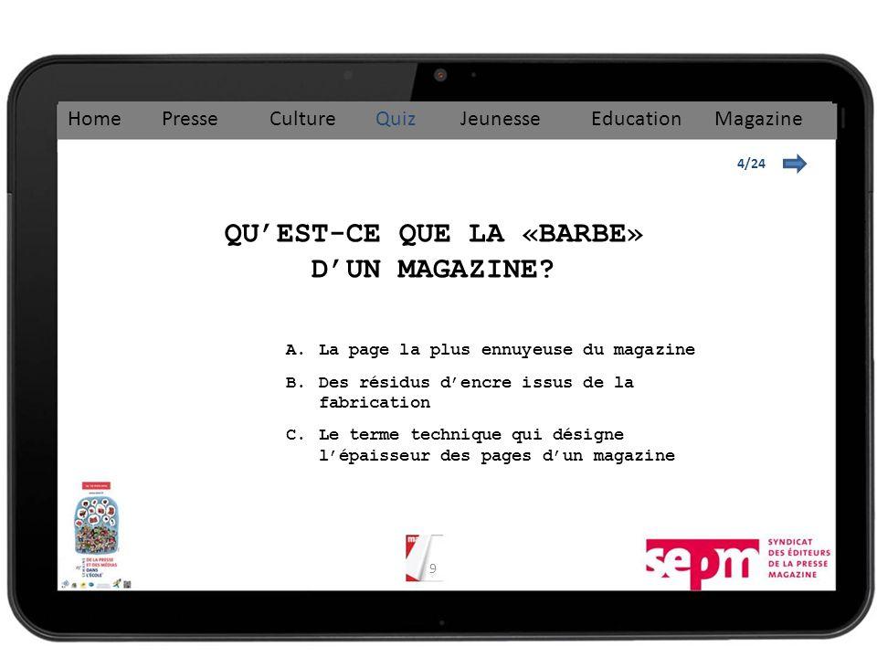 9 4/24 QUEST-CE QUE LA «BARBE» DUN MAGAZINE.