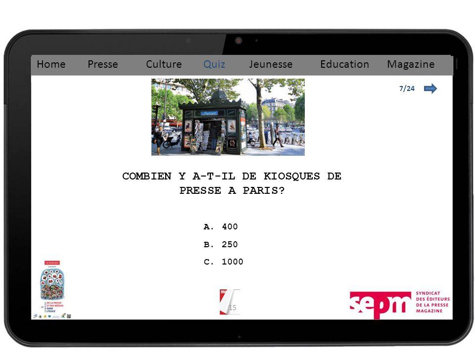 15 7/24 COMBIEN Y A-T-IL DE KIOSQUES DE PRESSE A PARIS.