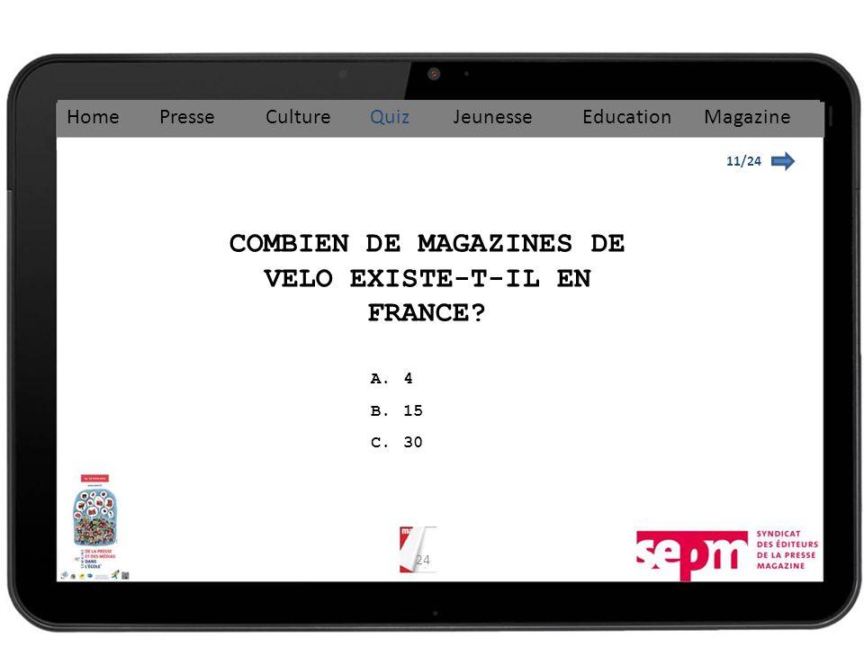 24 11/24 COMBIEN DE MAGAZINES DE VELO EXISTE-T-IL EN FRANCE.