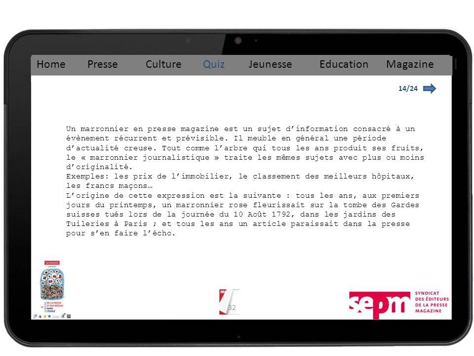 32 14/24 Home Presse Culture Quiz Jeunesse Education Magazine Un marronnier en presse magazine est un sujet dinformation consacré à un évènement récurrent et prévisible.