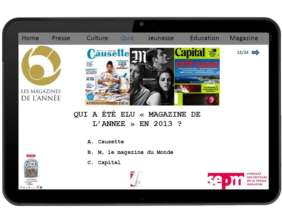 33 15/24 QUI A ÉTÉ ELU « MAGAZINE DE LANNEE » EN 2013 .