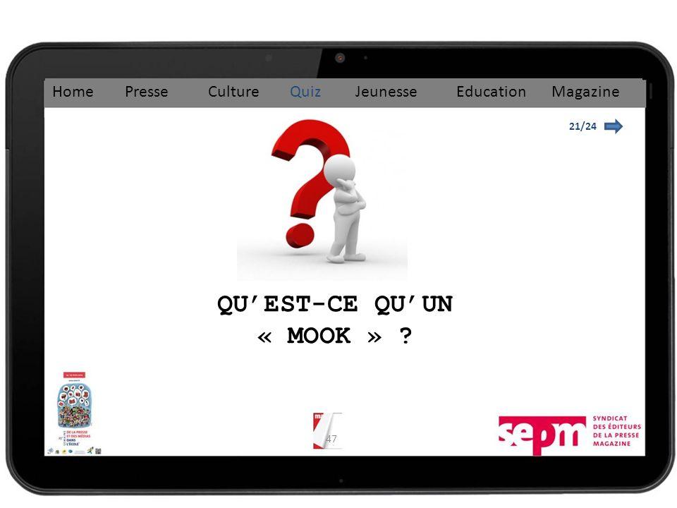 47 21/24 QUEST-CE QUUN « MOOK » ? Home Presse Culture Quiz Jeunesse Education Magazine