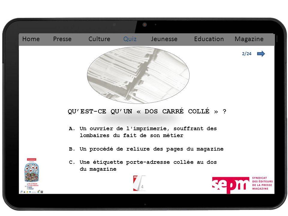 4 QUEST-CE QUUN « DOS CARRÉ COLLÉ » .