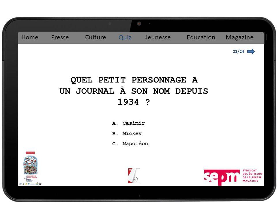 49 22/24 QUEL PETIT PERSONNAGE A UN JOURNAL À SON NOM DEPUIS 1934 .