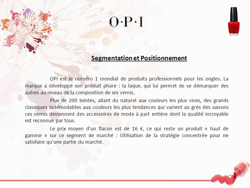 Segmentation et Positionnement OPI est le numéro 1 mondial de produits professionnels pour les ongles. La marque a développé son produit phare : la la