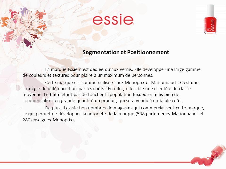 Segmentation et Positionnement La marque Essie n'est dédiée qu'aux vernis. Elle développe une large gamme de couleurs et textures pour plaire à un max
