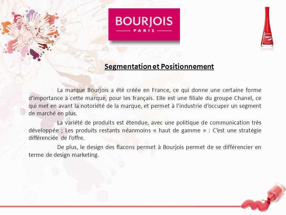 Segmentation et Positionnement La marque Bourjois a été créée en France, ce qui donne une certaine forme dimportance à cette marque, pour les français