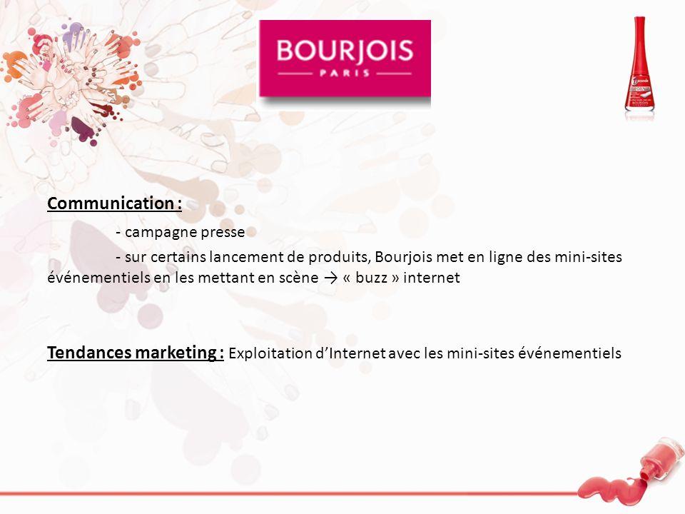 Communication : - campagne presse - sur certains lancement de produits, Bourjois met en ligne des mini-sites événementiels en les mettant en scène « b