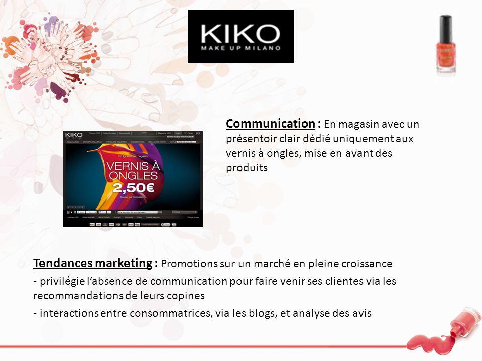 Communication : En magasin avec un présentoir clair dédié uniquement aux vernis à ongles, mise en avant des produits Tendances marketing : Promotions