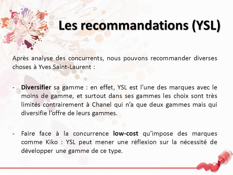 Les recommandations (YSL) Après analyse des concurrents, nous pouvons recommander diverses choses à Yves Saint-Laurent : -Diversifier sa gamme : en ef