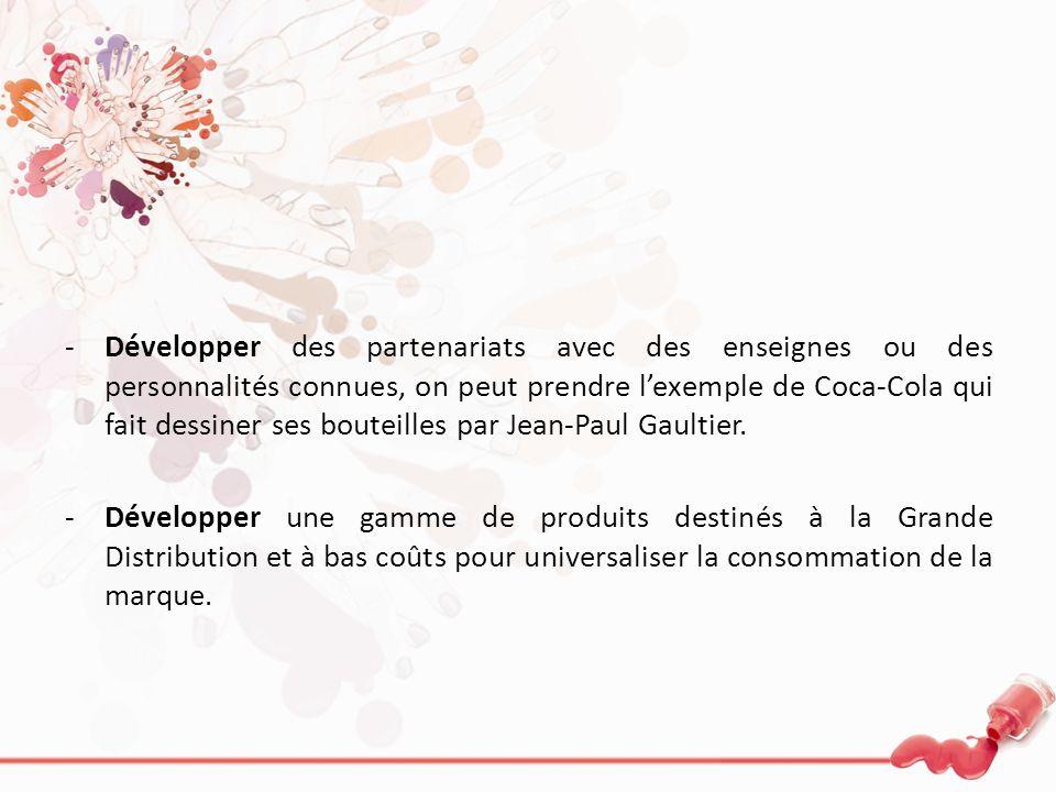 -Développer des partenariats avec des enseignes ou des personnalités connues, on peut prendre lexemple de Coca-Cola qui fait dessiner ses bouteilles p