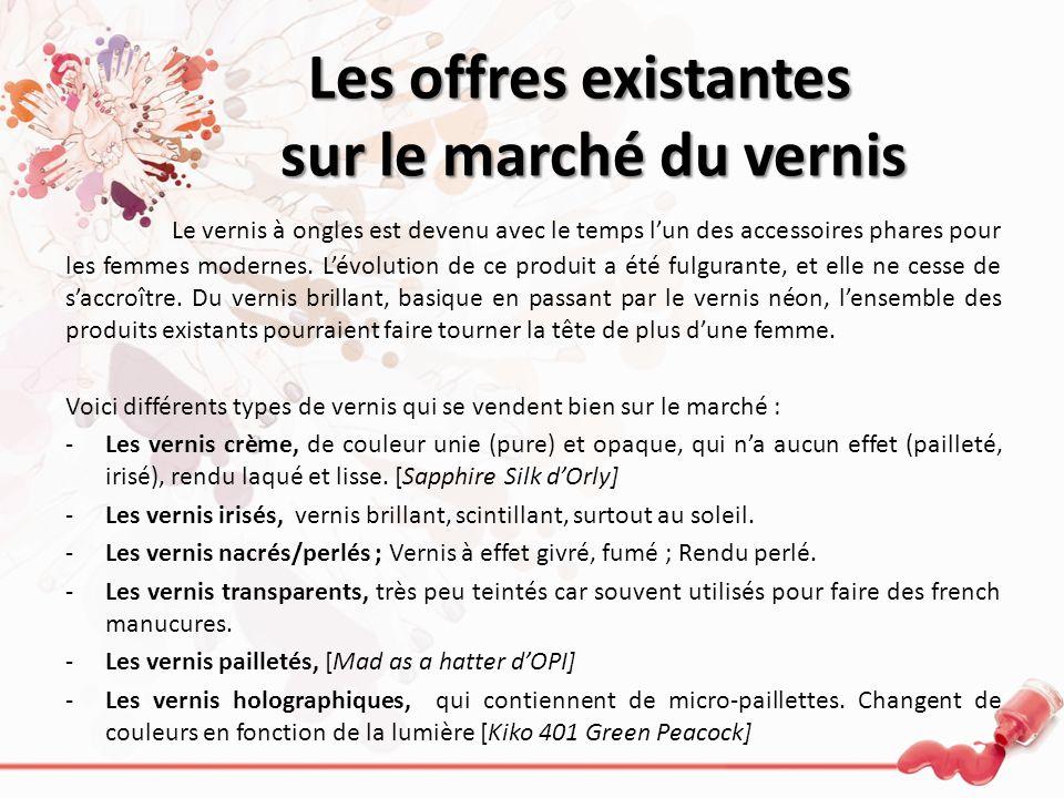 Il existe 4 différentes types de marché en ce qui concerne le vernis à ongles : – Le marché du luxe (Yves Saint Laurent, Chanel…) – Le haut de gamme (O.P.I …) – La gamme moyenne (Bourjois, Essie…) – Lentrée de gamme (Kiko, LOréal…) De Dior à Chanel, en passant par Sephora et Mac, sans oublier Gemey Maybelline, les offres existantes sur le marché du vernis à ongles sont plus que nombreuses.