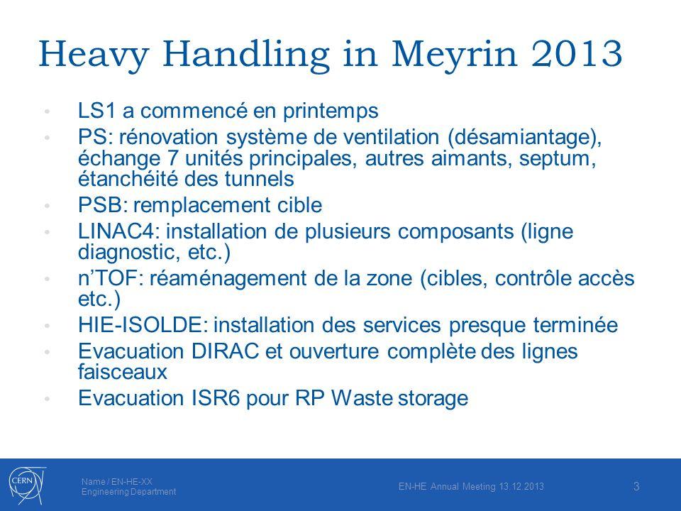 Name / EN-HE-XX Engineering Department Heavy Handling in Meyrin 2013 LS1 a commencé en printemps PS: rénovation système de ventilation (désamiantage),