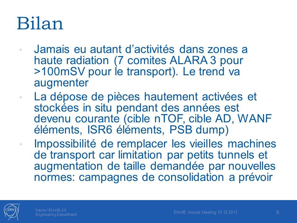 Name / EN-HE-XX Engineering Department Bilan Jamais eu autant dactivités dans zones a haute radiation (7 comites ALARA 3 pour >100mSV pour le transpor