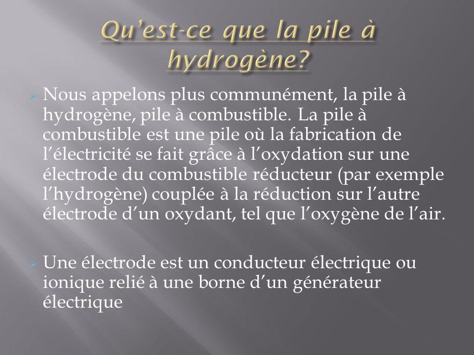 Plus simplement, cest un générateur électrochimique dénergie permettant de transformer des comburants chimiques qui sont lhydrogène et loxygène en énergie électrique, tout en rejetant de leau.