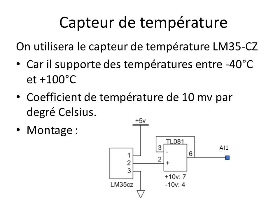 Capteur de température On utilisera le capteur de température LM35-CZ Car il supporte des températures entre -40°C et +100°C Coefficient de température de 10 mv par degré Celsius.