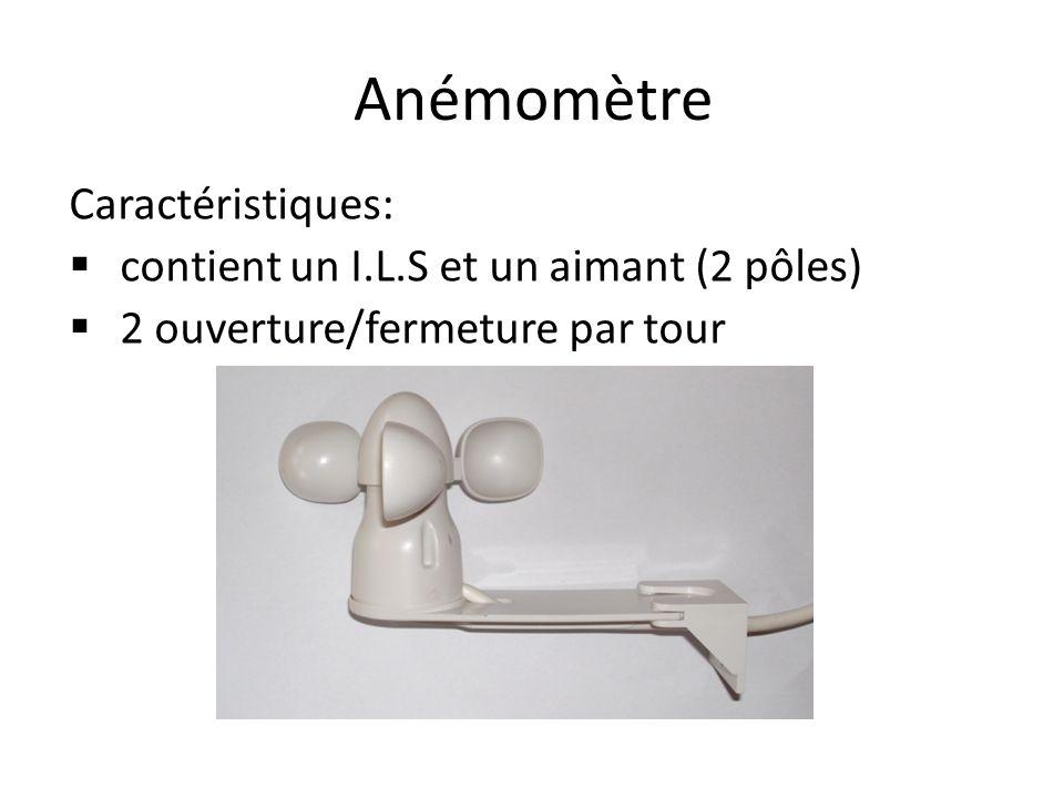 Anémomètre Caractéristiques: contient un I.L.S et un aimant (2 pôles) 2 ouverture/fermeture par tour